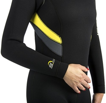 Cressi Damen Tauchanzug Castoro 5 mm mit Rückenreißverschluss, Schwarz/Gelb/Grau, S, LR106702 -