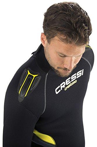 Cressi Herren Tauchanzug Castoro 5 mm mit Rückenreißverschluss, Schwarz/Gelb/Grau, M, LR106403 -